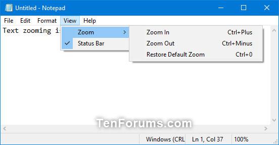 Nhấn vào Zoom và nhấp vào Zoom In hoặc Zoom Out cho đến khi bạn đạt được mức độ mong muốn