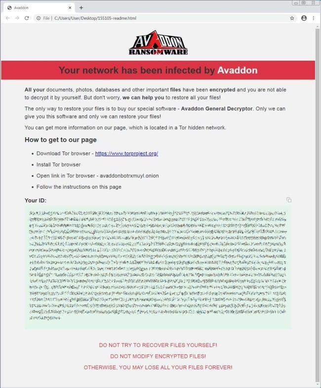 Thư đòi tiền chuộc của Avaddon, yêu cầu người dùng tải trình duyệt TOR để truy cập trang thanh toán