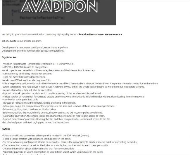 Avaddon đang rất tích cực tìm kiếm đại lý