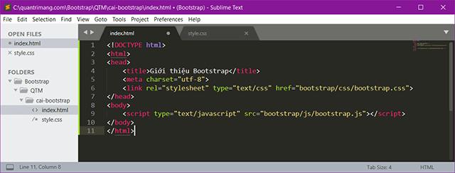 Cài đặt Bootstrap bằng cách tải về