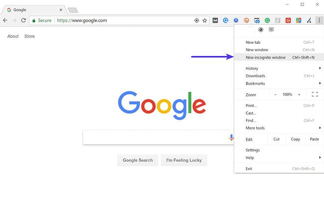 Mở Chrome ở chế độ Incognito
