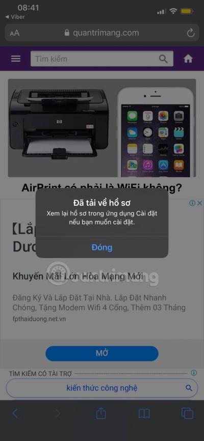 Đã tải thành công cấu hình iOS 14 public beta