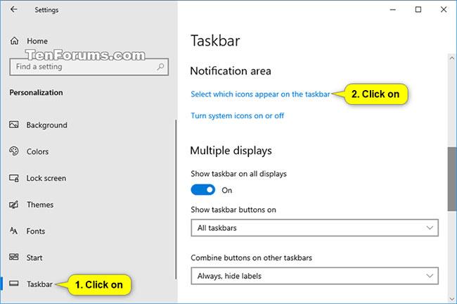 Nhấn vào liên kết Select which icons appear on the taskbar