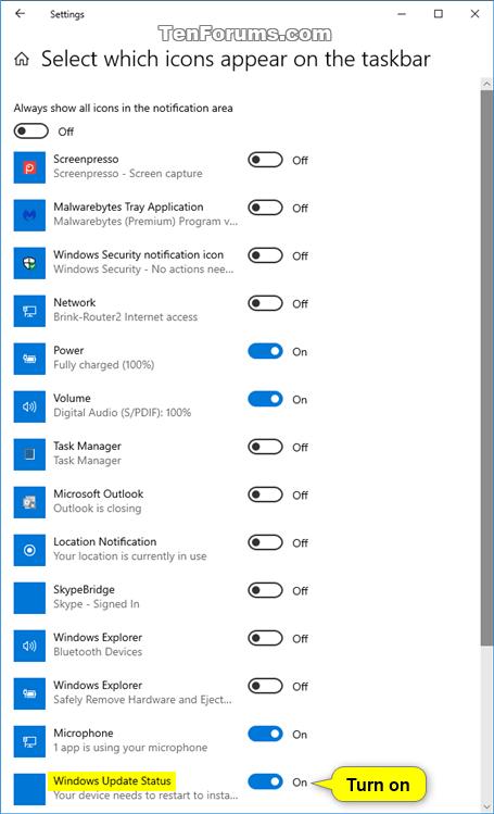 Kích hoạt tùy chọn Windows Update Status