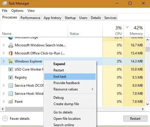 Điều hướng đến tiến trình Windows Explorer và kết thúc tác vụ