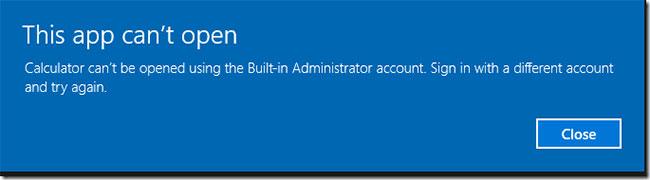 Bạn không thẻ mở ứng dụng máy tính bằng tài khoản admin