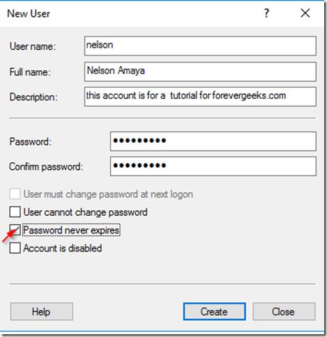 Điền vào mẫu tạo New User xuất hiện