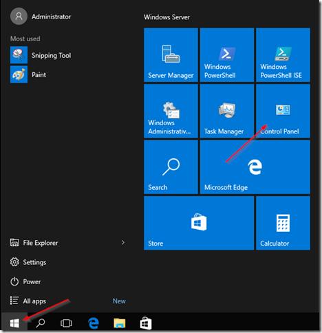 Đăng nhập vào Windows Server 2016 và nhấp vào nút Start, sau đó nhấn vào Control Panel