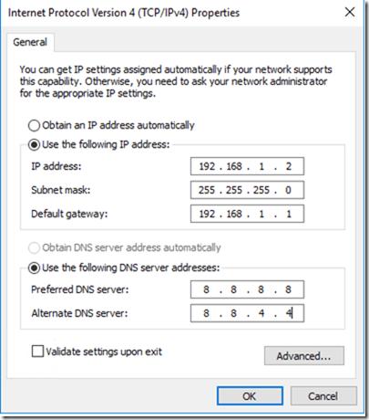 Nhập địa chỉ IP bạn muốn gán cho máy chủ này, Network Mask, Default Gateway và DNS server address