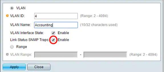 Tích vào hộp kiểm Link Status SNMP Traps