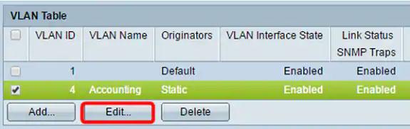 Nhấn Edit để chỉnh sửa VLAN đã chọn