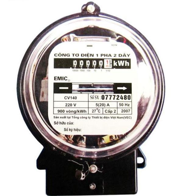 Đồng hồ điện 1 pha 2 dây