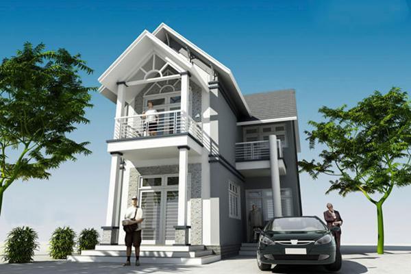 Nhà chữ L 2 tầng ấn tượng với thiết kế mái thái kết hợp cột trụ cổ điển và phần mái hiên nhỏ trước cửa