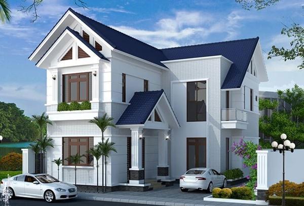 Mẫu nhà chữ L 2 tầng được xây dựng theo phong cách biệt thự hiện đại
