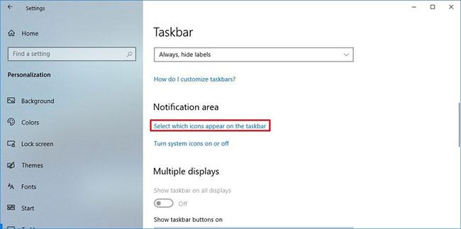 Nhấp vào tùy chọn Select which icons appear on the taskbar