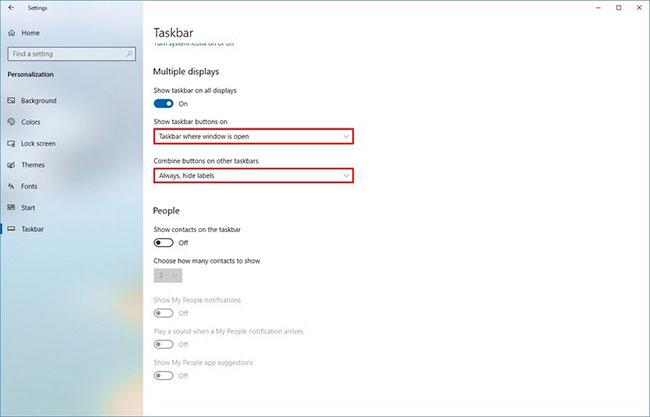 Sử dụng menu drop-down Show taskbar buttons on và chọn tùy chọn Taskbar where the window is open