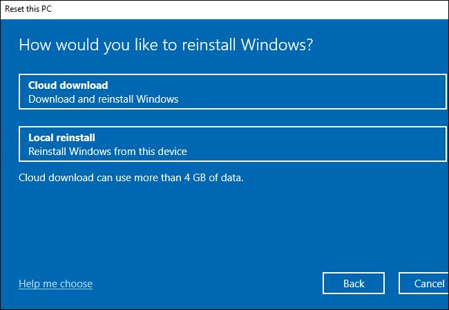 Chọn Cloud download hoặc Local reinstall