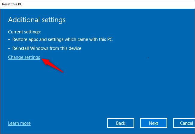 Nhấp vào Change settings