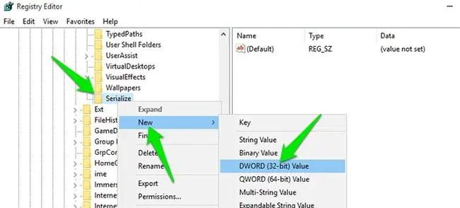 Key DWORD Value sẽ được tạo trong bảng điều khiển bên phải