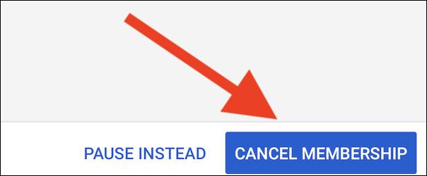Hủy đăng ký YouTube TV