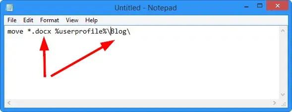 Sao chép và dán lệnh vào Notepad