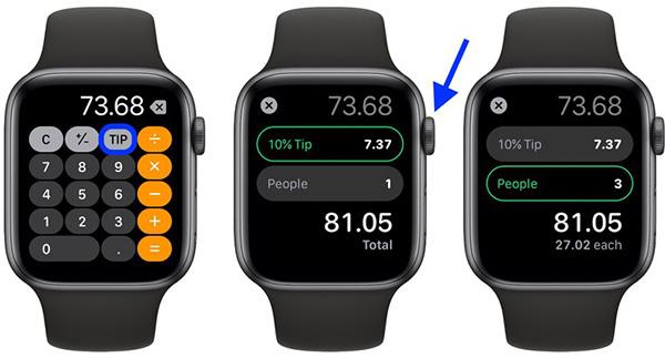 Chức năng tính tiền TIP và chia hóa đơn trên Apple Watch