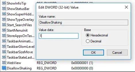 Tạo giá trị DisallowShaking mới