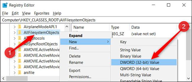 Đặt tên cho DWORD mới là DefaultDropEffect