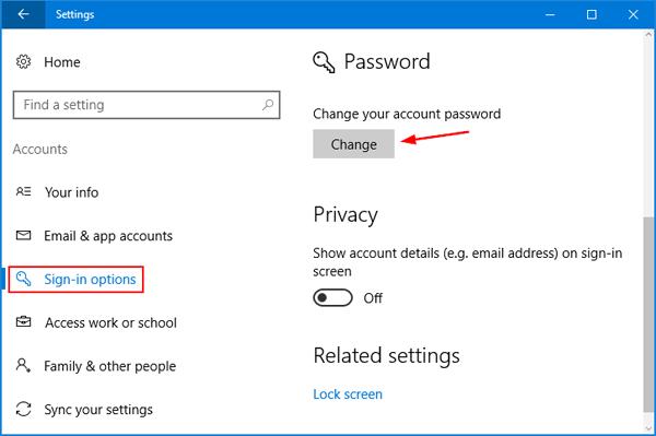 Nhập mật khẩu mới 2 lần và đặt gợi ý mật khẩu