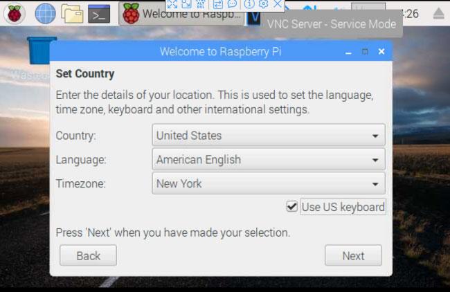 Chọn quốc gia, ngôn ngữ và loại bàn phím