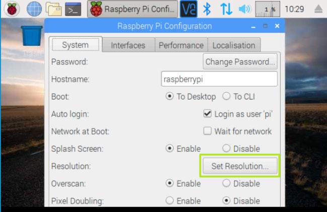 Nhấp vào nút Set Resolution trên tab System