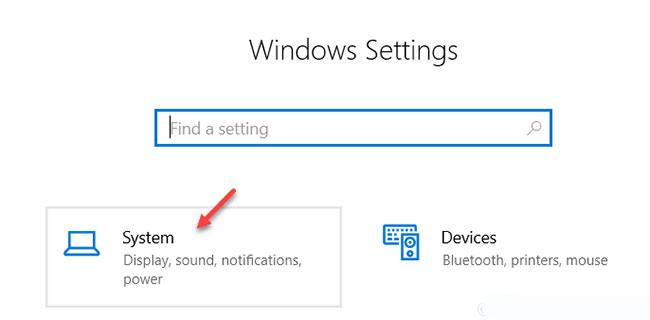 Trong cửa sổ Windows Settings, nhấp vào System