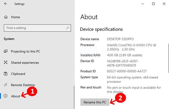 Bấm vào About, sau đó trong phần Device specifications, chọn Rename this PC