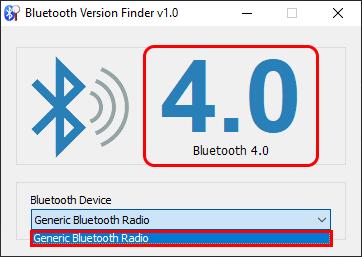 Nhấp vào menu drop-down và chọn thiết bị Bluetooth để hiển thị thông tin về phiên bản Bluetooth