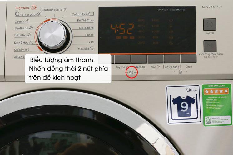 Bật/tắt âm thanh thông báo trên máy giặt Midea