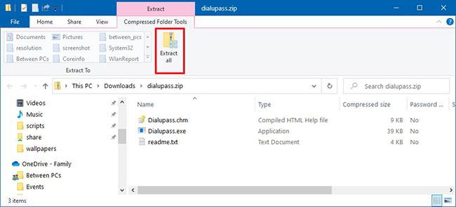 Nhấp vào nút Extract all từ tab Compressed Folder Tools