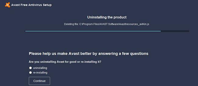 Quá trình gỡ cài đặt Avast tiêu chuẩn sẽ bắt đầu và mất chút thời gian để hoàn thành