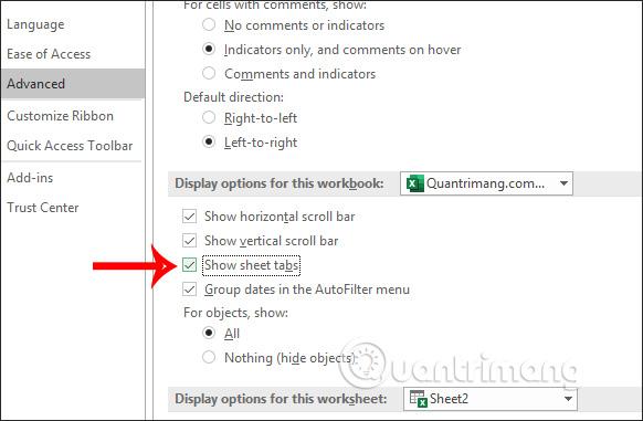 Cách hiển thị sheet tab trong Excel - Ảnh minh hoạ 2