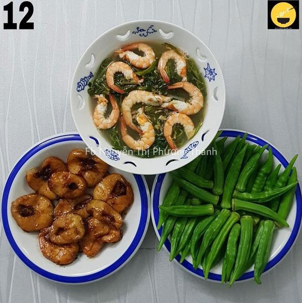 Cá lóc kho, đậu bắp luộc, canh chua rau muống khô.