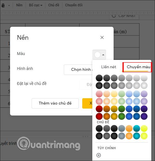 Cách tạo nền Gradient tùy chỉnh trong Google Slides