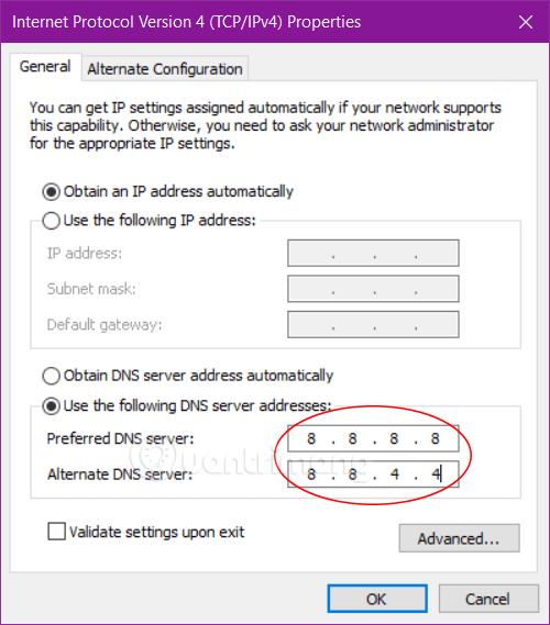 Chuyển DNS sang DNS Google