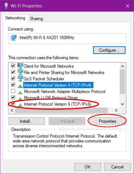 Mở Properties của IPv6