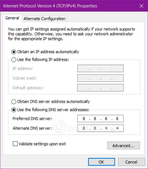 Đổi DNS với IPv4