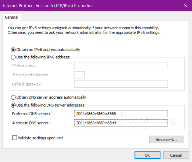 Đổi DNS Google với IPv6