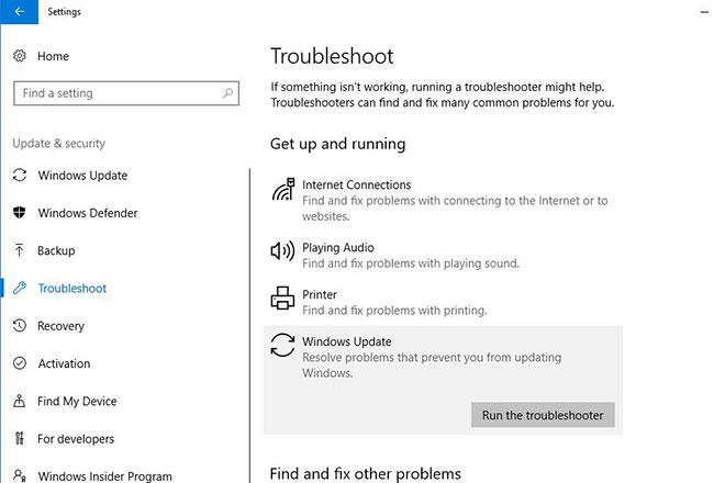Chạy công cụ Windows Update Troubleshooter