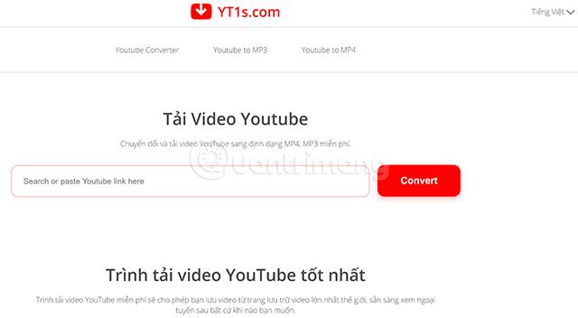 Giao diện trang chủ của yt1s.com