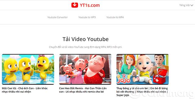 Giao diện trang tìm kiếm video YouTube của YT1S