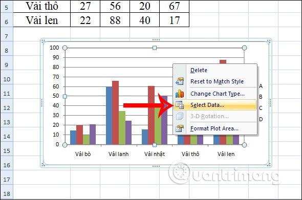 Cách đổi tên chuỗi dữ liệu trong biểu đồ Excel - Ảnh minh hoạ 2