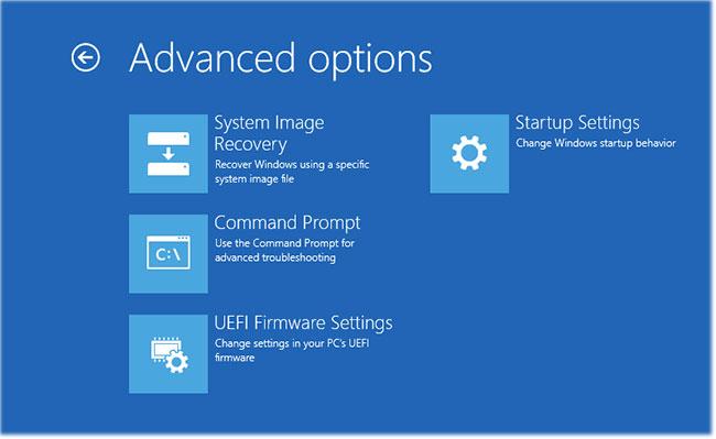 Màn hình Advanced options sẽ hiển thị